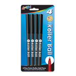 Set of 4 Roller Ball Pens - Black - USA Made