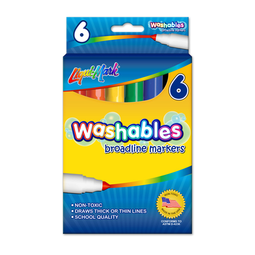 Set of 6 Washable Markers - Assorted Colors - USA Made