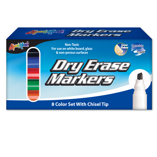 Set of 8 Chisel Tip Dry Erase Markers/Box - Assorted - USA Made