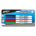 Set of 4 Fine Tip Dry Erase Markers - Assorted - USA Made