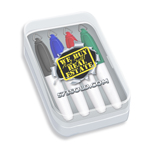 Mini Dry Erase Markers in Clear Plastic Box - Full Color Decal - 4 ct