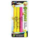 Set of 3 @iTUDES™ Emoji Silly Face Highlighters - Assorted Colors - USA Made