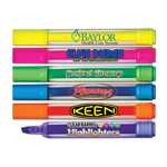 Brite Spots® Broad Tip Highlighters - Clear Barrel - USA Made - Full Color Decal