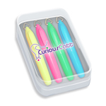 Mini Brite Spots® Highlighters in Clear Plastic Box - Full Color Decal - 4 ct