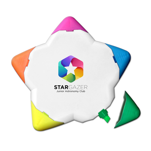 Star-Lighter™ - 5 Color Star Shaped Highlighter - Full Color Decal