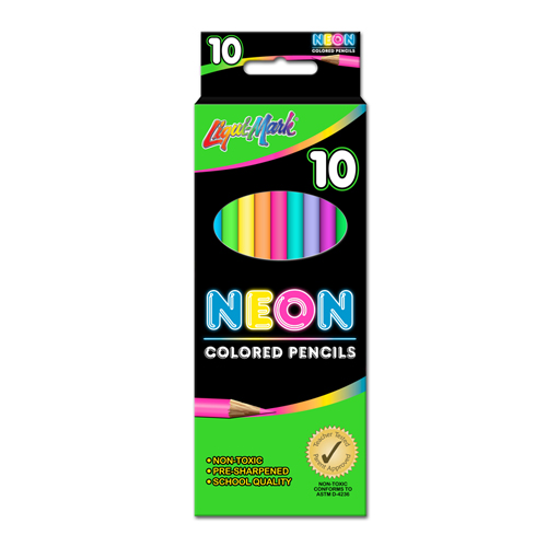 "Set of 10 Neon Colored Pencils 7"" Pre-Sharpened - Assorted Colors"