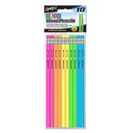 Set of 10 Neon # 2 HB Pencils with Eraser