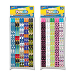 Set of 10 Fashion Pencils (Boys & Girls Theme Sets) with Eraser