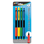 Set of 4 Mechanical Pencils with Rubber Grip and Eraser