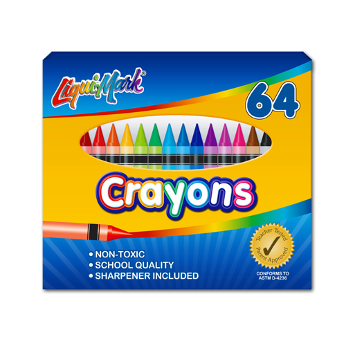 Set of 64 Crayons w/ Sharpener