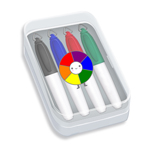 Mini Sharp Mark® Permanent Markers in Clear Plastic Case - Full Color Decal - 4 ct