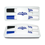 Dry Erase Gear Marker & Erase Set with Black & Blue Markers